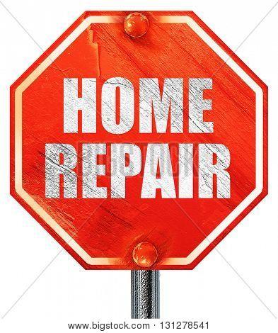 home repair, 3D rendering, a red stop sign