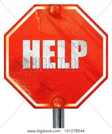 Help sign with smooth lines, 3D rendering, a red stop sign