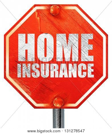 home insurance, 3D rendering, a red stop sign