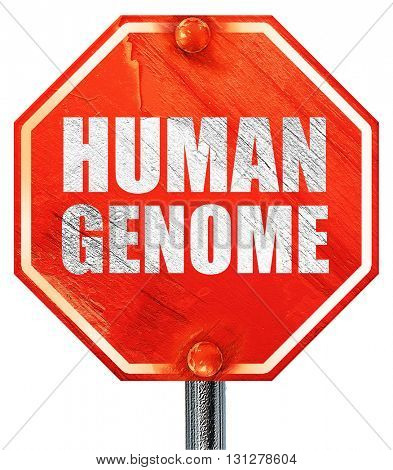 human genome, 3D rendering, a red stop sign