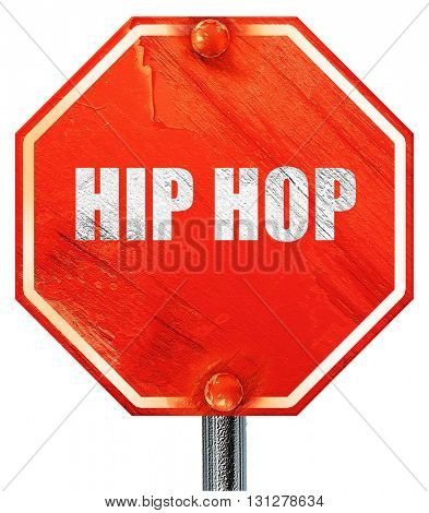 hip hop music, 3D rendering, a red stop sign