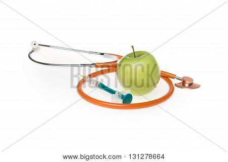 Apple Organic Natural Nutrient Apple Doctor's Stethoscope And Syringe