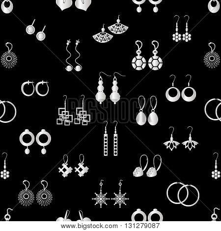 Various Silver Ladies Earrings Types Seamless Pattern Eps10