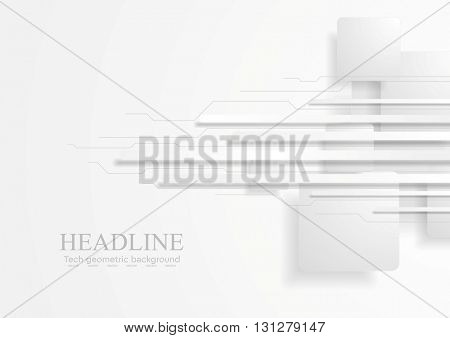 Abstract tech background with grey paper squares and stripes. Circuit board lines, vector graphic design