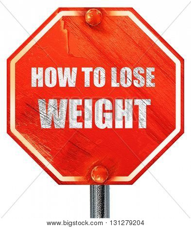 how to lose weight, 3D rendering, a red stop sign