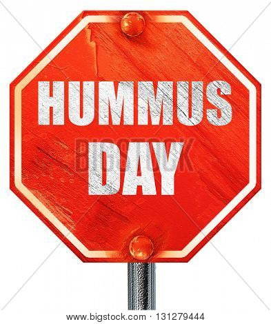 hummus day, 3D rendering, a red stop sign