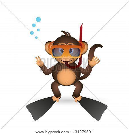 Cute Chimpanzee Diver In Summer Sport Little Monkey  Eps10
