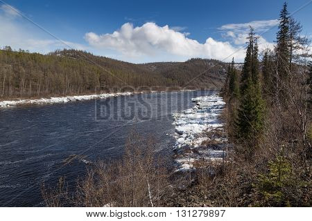 Chulman river in South Yakutia after an ice drift