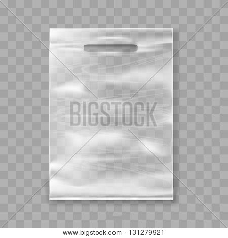 Plastic bag template for plastic package mockup vector