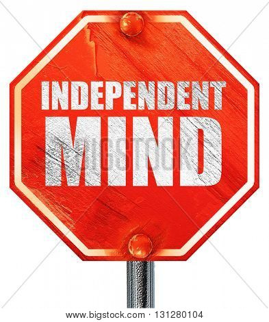 independent mind, 3D rendering, a red stop sign