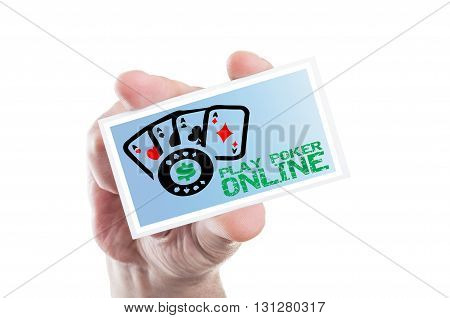 Hand Holding Play Poker Online Card With Four Aces
