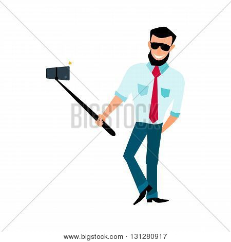 Smiling male with a beard hipster take photos selfie stick in the style of cartoons and flat isolated on white background