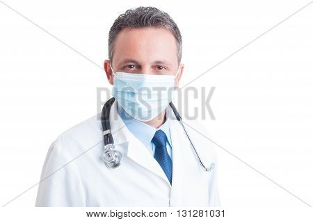 Potrait Of Handsome Doctor Wearing Surgical Protective Mask