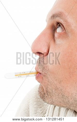 Side View Of Half Face With Thermometer In Mouth