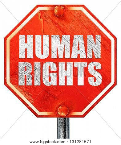 human rights, 3D rendering, a red stop sign