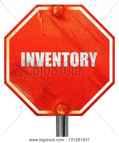 inventory, 3D rendering, a red stop sign