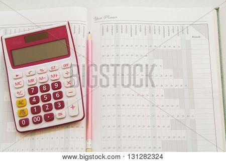 notebook for yearly expenses and planner for finance, control money