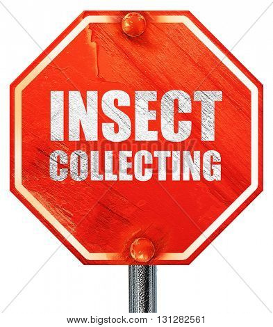 insect collecting, 3D rendering, a red stop sign