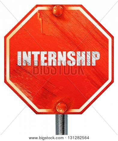 internship, 3D rendering, a red stop sign