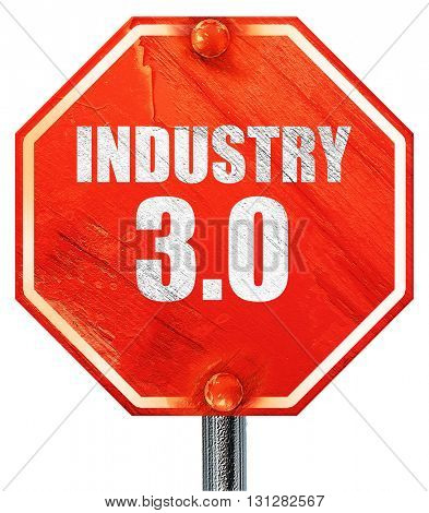 industry 3.0, 3D rendering, a red stop sign