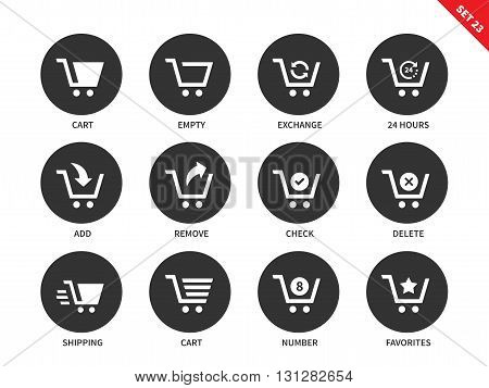Shopping carts vector icons set. Consumerism concept. Items for shopping centre advertising, empty cart, delete, remove, number and other signs. Isolated on white background