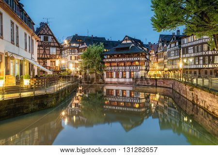 Petite-France historic area in the center of Strasbourg France