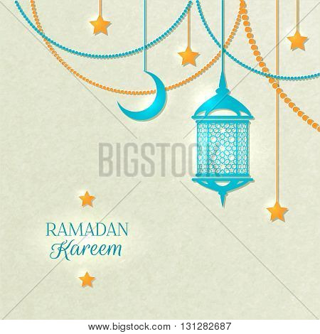 Ramadan light color poster with beads yellow lamp and stars hanging from the ceiling on gray background vector illustration