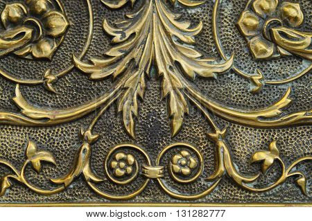 Close-up: Detail of 1898 hammered brass tray.