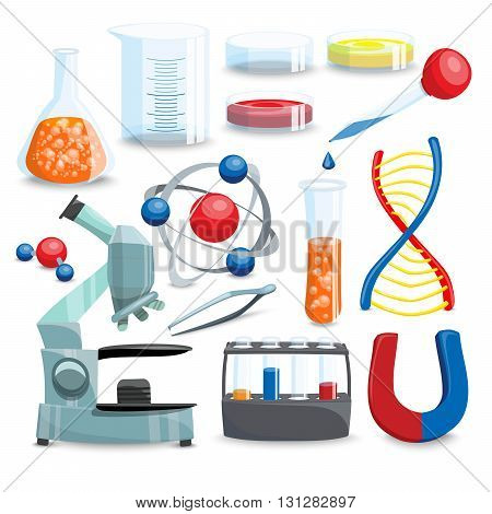 Science Icons Set. Science Vector Illustration. Science Cartoon Symbols. Chemistry Design Set.Science Isolated Set.