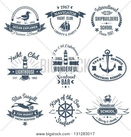Monochrome nautical marine labels and logos of shipbuilders school yacht club ocean explorer isolated vector illustration