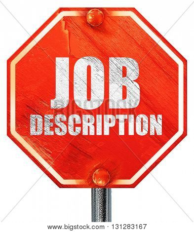 job description, 3D rendering, a red stop sign