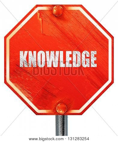 knowledge, 3D rendering, a red stop sign
