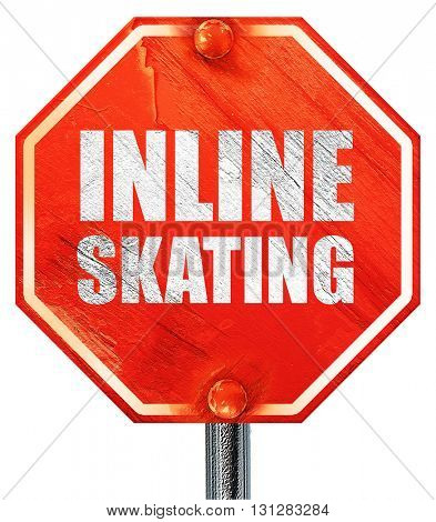 inline skating, 3D rendering, a red stop sign