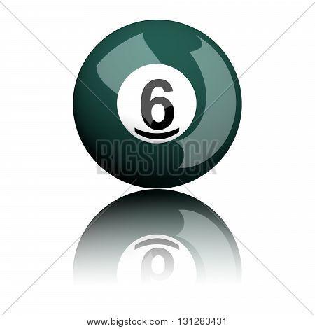Billiard Ball Number 6 3D Rendering