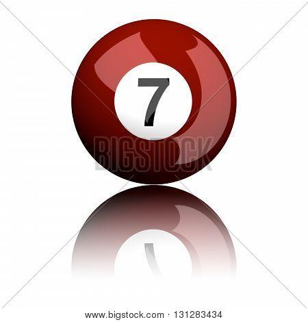 Billiard Ball Number 7 3D Rendering