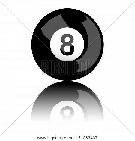 Billiard Ball Number 8 3D Rendering