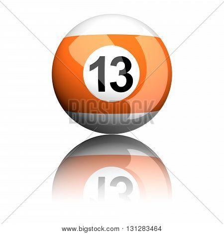 Billiard Ball Number 13 3D Rendering