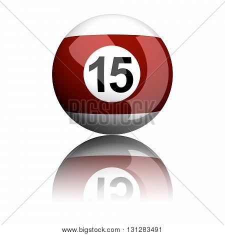 Billiard Ball Number 15 3D Rendering