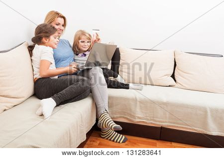 Happy Family Shopping Online Concept