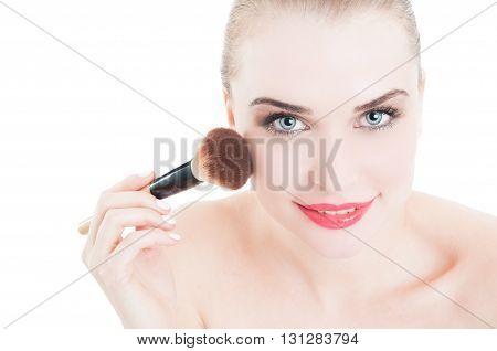 Happy Smiling Female Model Using Make-up Brush