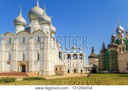 ROSTOV, RUSSIA - JUNE 3, 2013: It is Assumption Cathedral and belfry which are located in the Rostov Kremlin's Cathedral Square.
