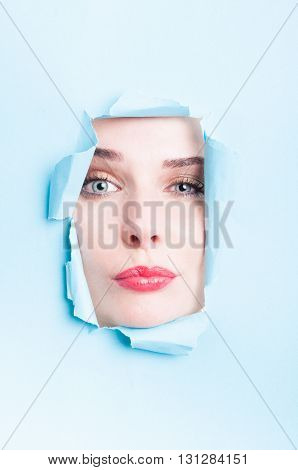 Attractive Model With Perfect Skin Acting Confident Thru Ripped Board