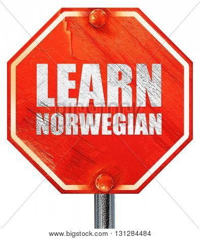 learn norwegian, 3D rendering, a red stop sign