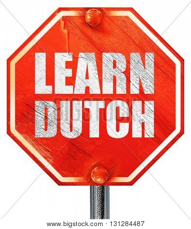 learn dutch, 3D rendering, a red stop sign