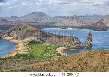 Scenic Pinnacle Rock Galapagos Islands Panoramic Landscape