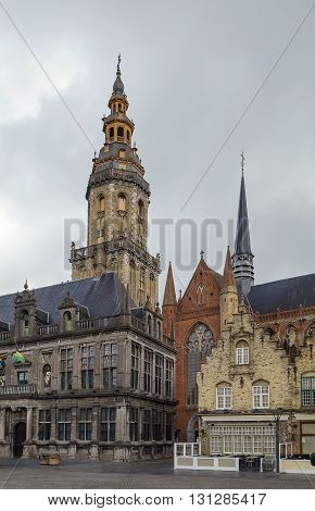 View of Veurne belfry from market square Belgium