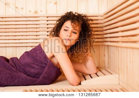 Close-up Portrait Of Attractive Woman Resting In A Steam Room