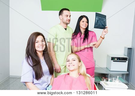 Professional Dentist Team And Happy Patient