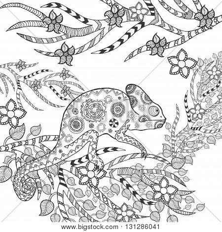 Cute chameleon in flowers. Animals. Hand drawn doodle. Ethnic patterned illustration. African, indian, totem tatoo design. Sketch for avatar, tattoo, poster, print or t-shirt.