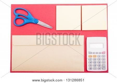 Organized Accountant Desktop With Envelop, Paper And Scissors